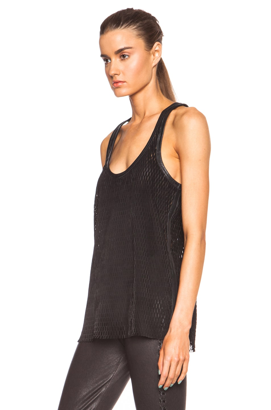 Image 2 of Isabel Marant Felton Sporty Leather Top in Black