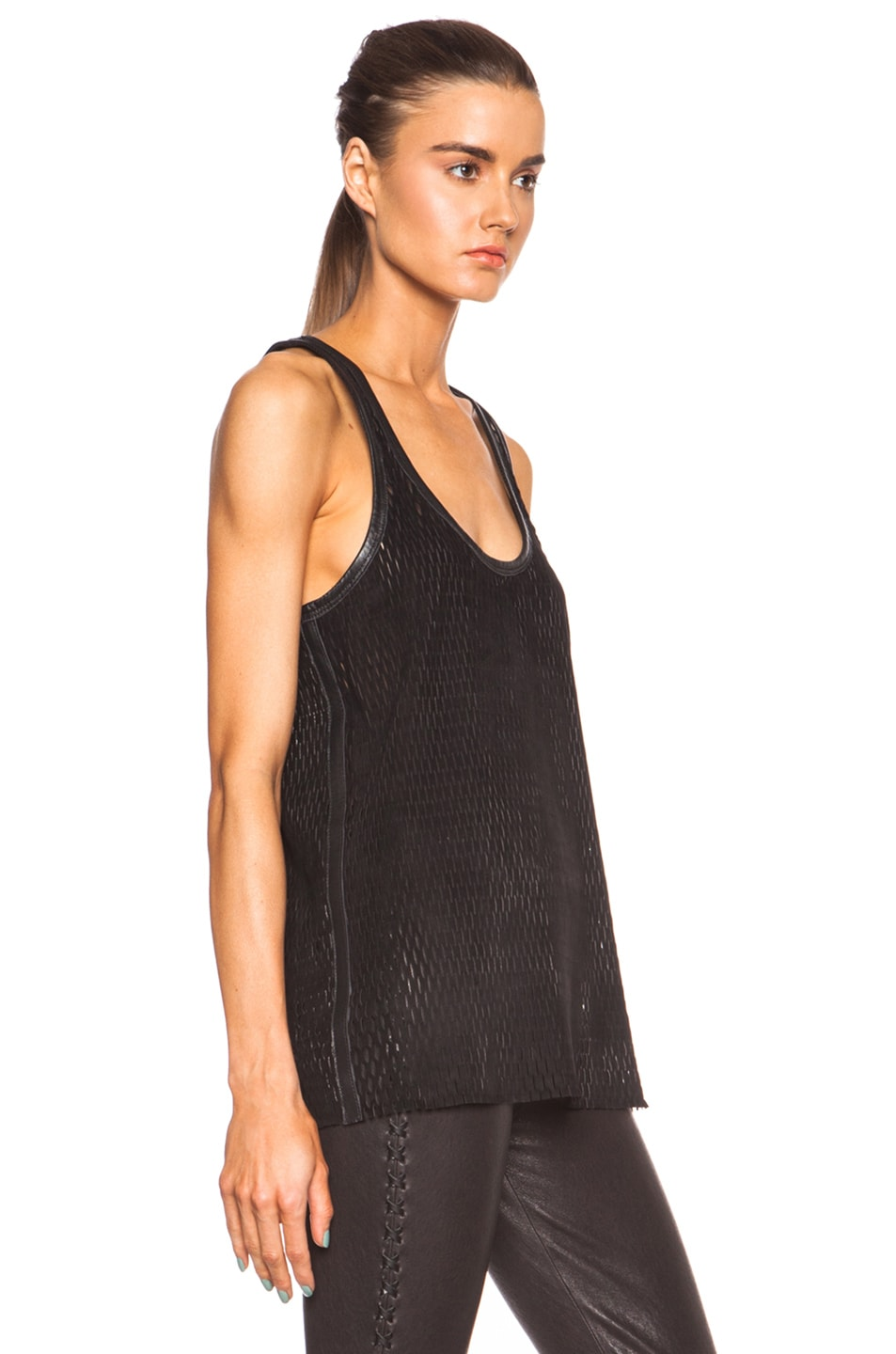 Image 3 of Isabel Marant Felton Sporty Leather Top in Black