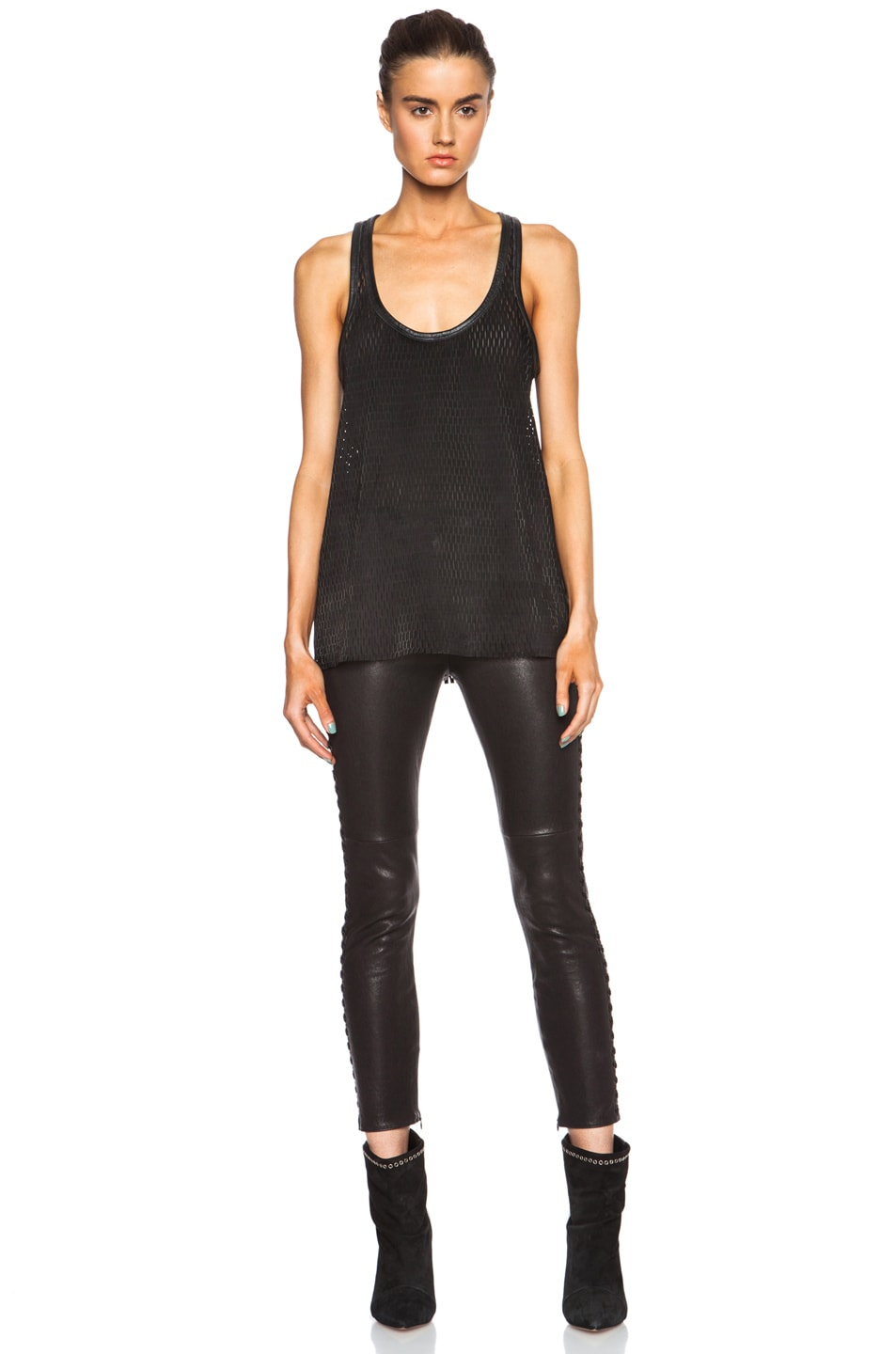 Image 5 of Isabel Marant Felton Sporty Leather Top in Black