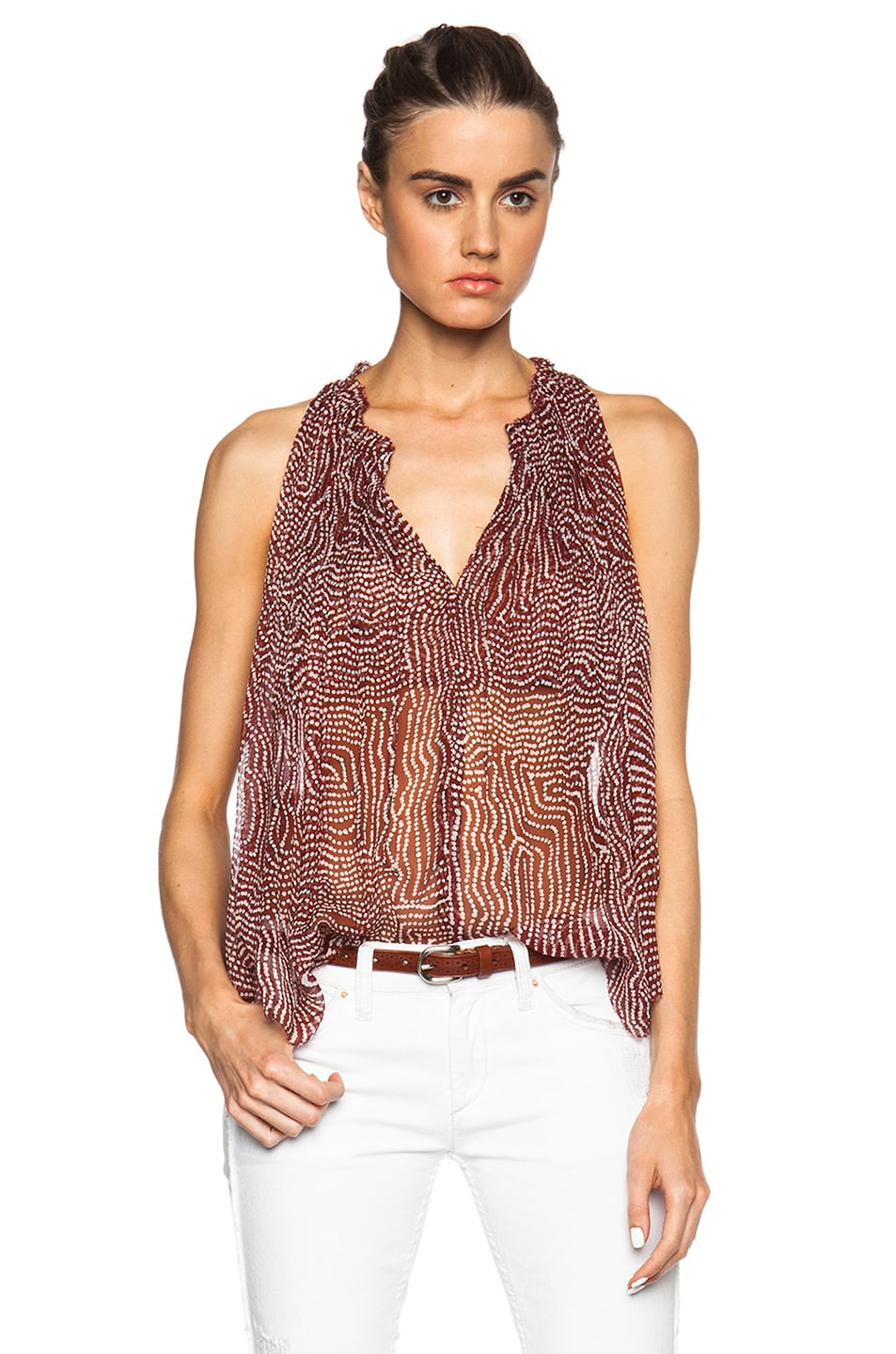 Image 1 of Isabel Marant Manny Pleated Chiffon Silk Top in Rust