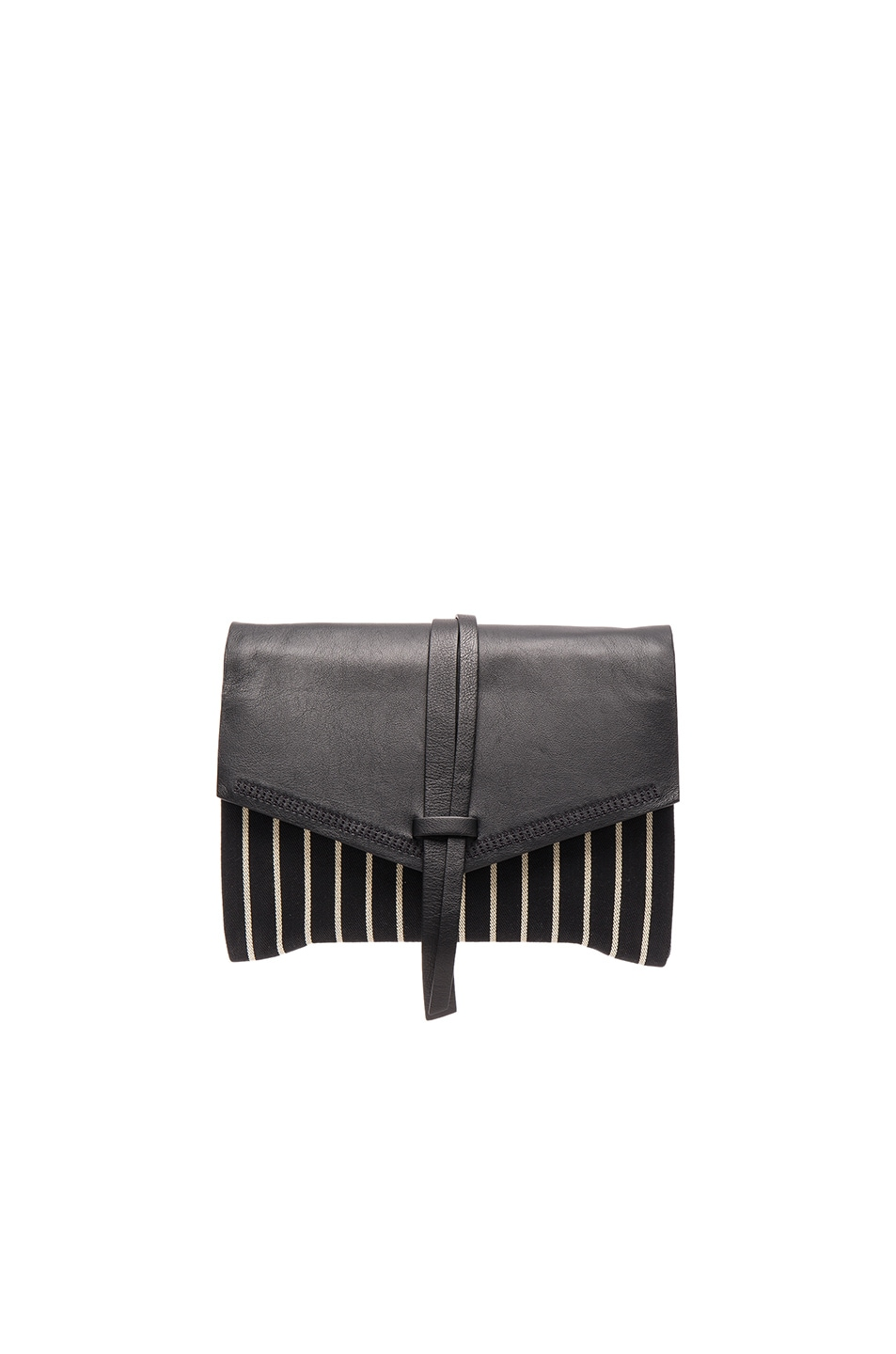 Image 1 of Isabel Marant Harlin Striped Canvas Clutch in Black