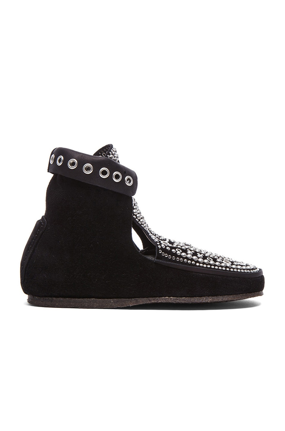 Image 1 of Isabel Marant Morley Rivet Calfskin Velvet Leather Moccassins in Black