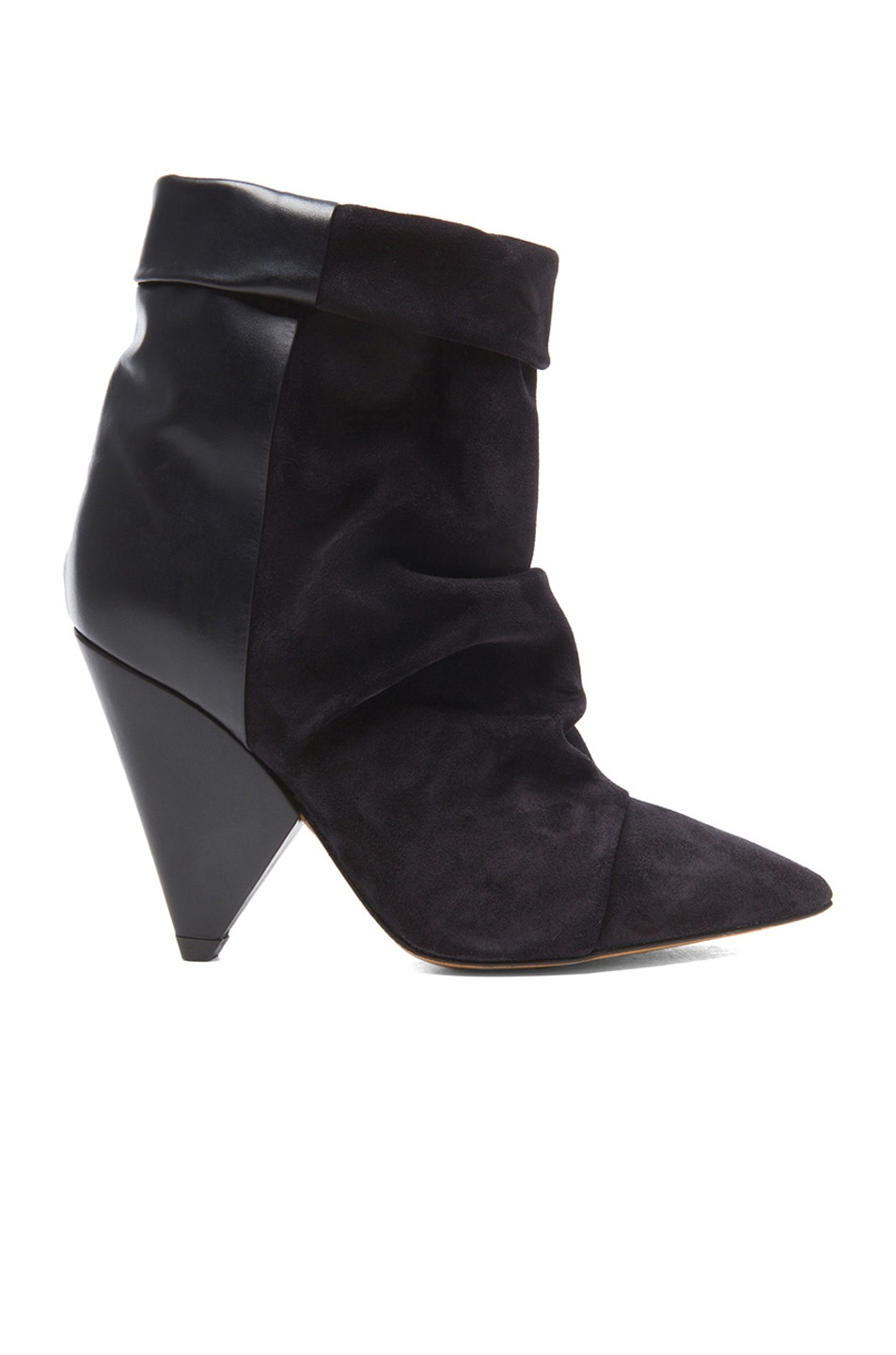 Image 1 of Isabel Marant Andrew Calfskin Velvet Leather Boots in Black