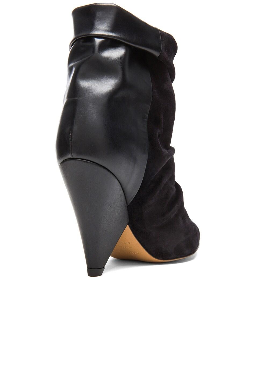 Image 3 of Isabel Marant Andrew Calfskin Velvet Leather Boots in Black