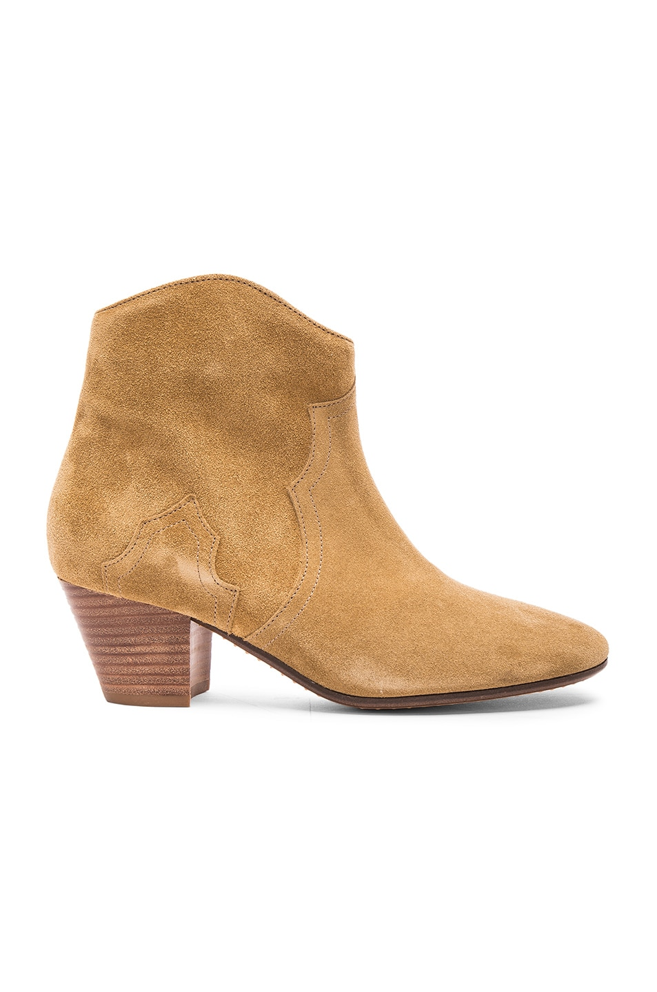Image 1 of Isabel Marant Dicker Velvet Booties in Camel