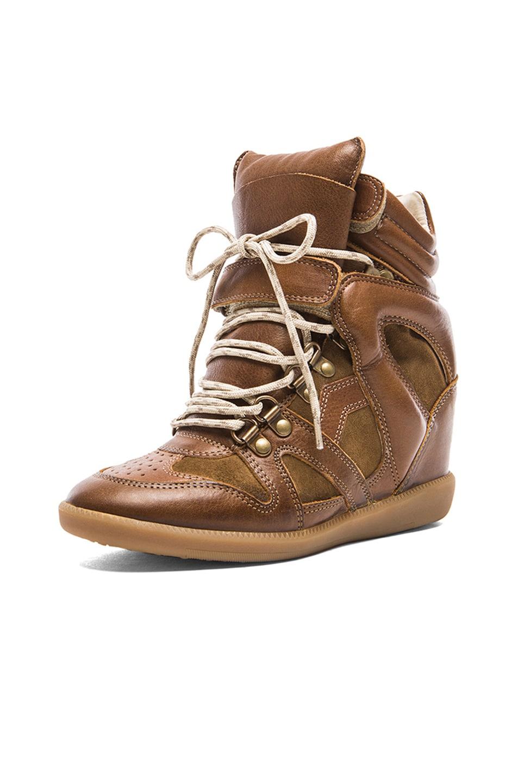 2da23c223db Isabel Marant Buck Tibetan Calfskin Velvet Leather Sneakers in Brown ...