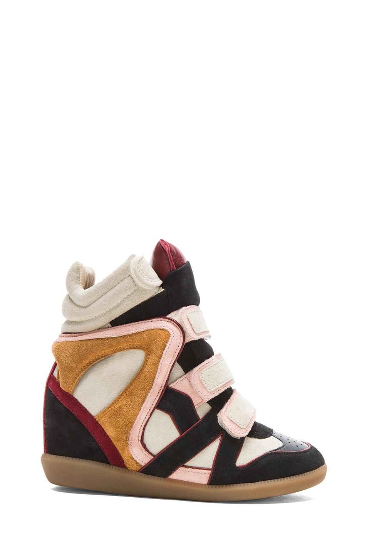 Image 1 of Isabel Marant Wila Over Basket Calfskin Velvet Leather Sneakers in Anthracite