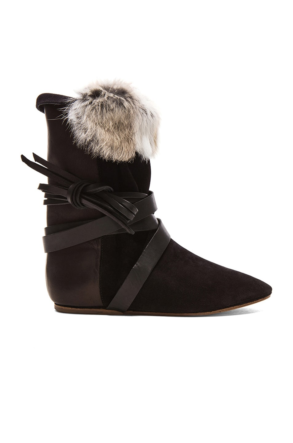 Image 1 of Isabel Marant Nia Couture Calfskin Velvet Leather Boots with Fur in Black