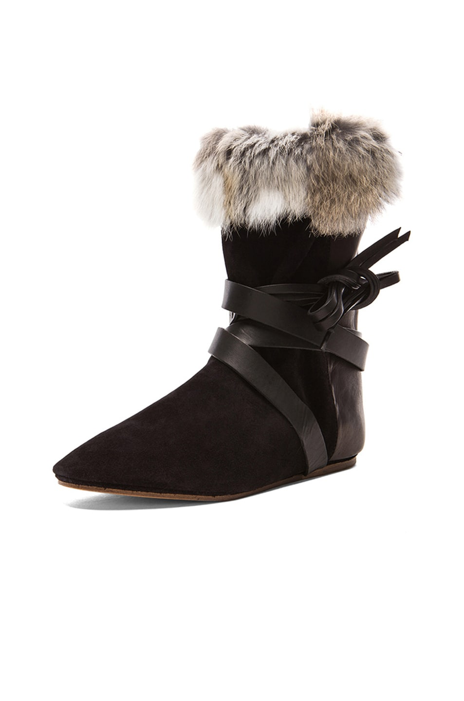 Image 2 of Isabel Marant Nia Couture Calfskin Velvet Leather Boots with Fur in Black