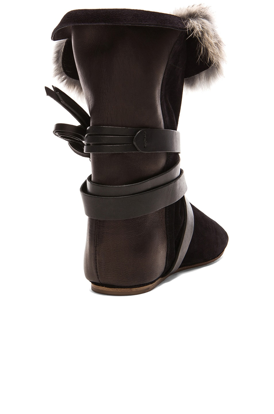 Image 3 of Isabel Marant Nia Couture Calfskin Velvet Leather Boots with Fur in Black