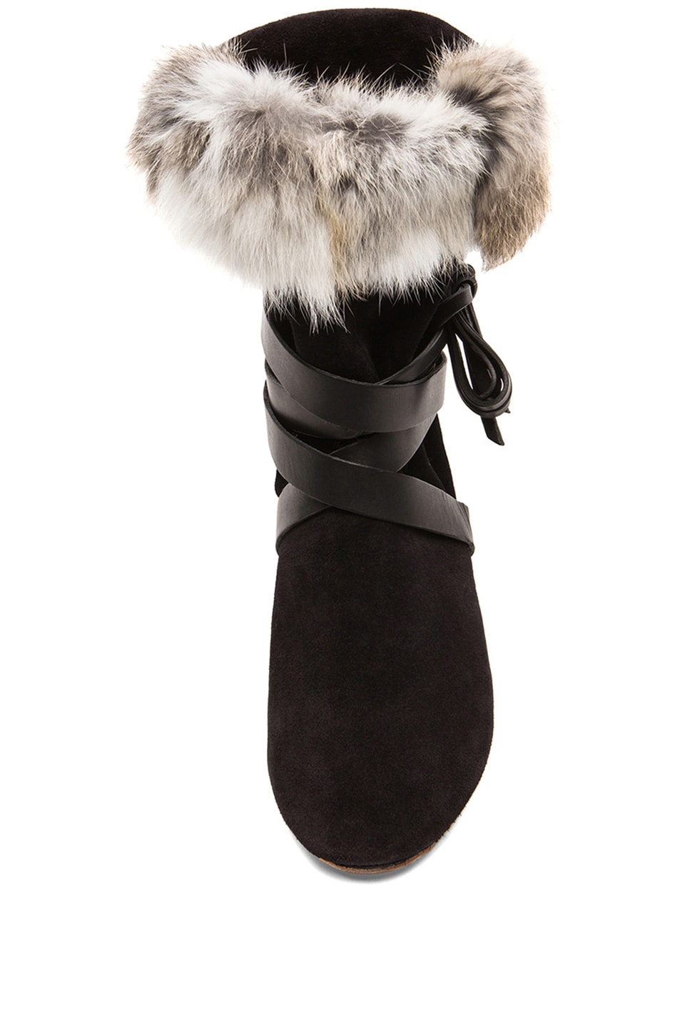 Image 4 of Isabel Marant Nia Couture Calfskin Velvet Leather Boots with Fur in Black