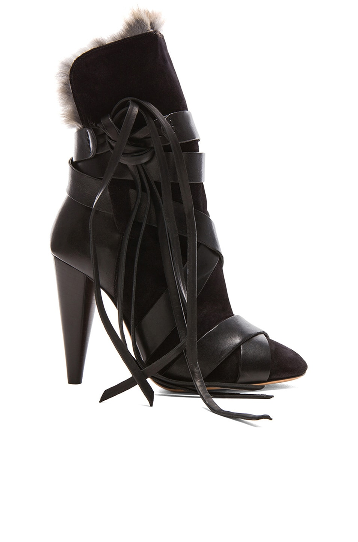 Image 1 of Isabel Marant Neta Calfskin Velvet Leather Boots with Fur in Black