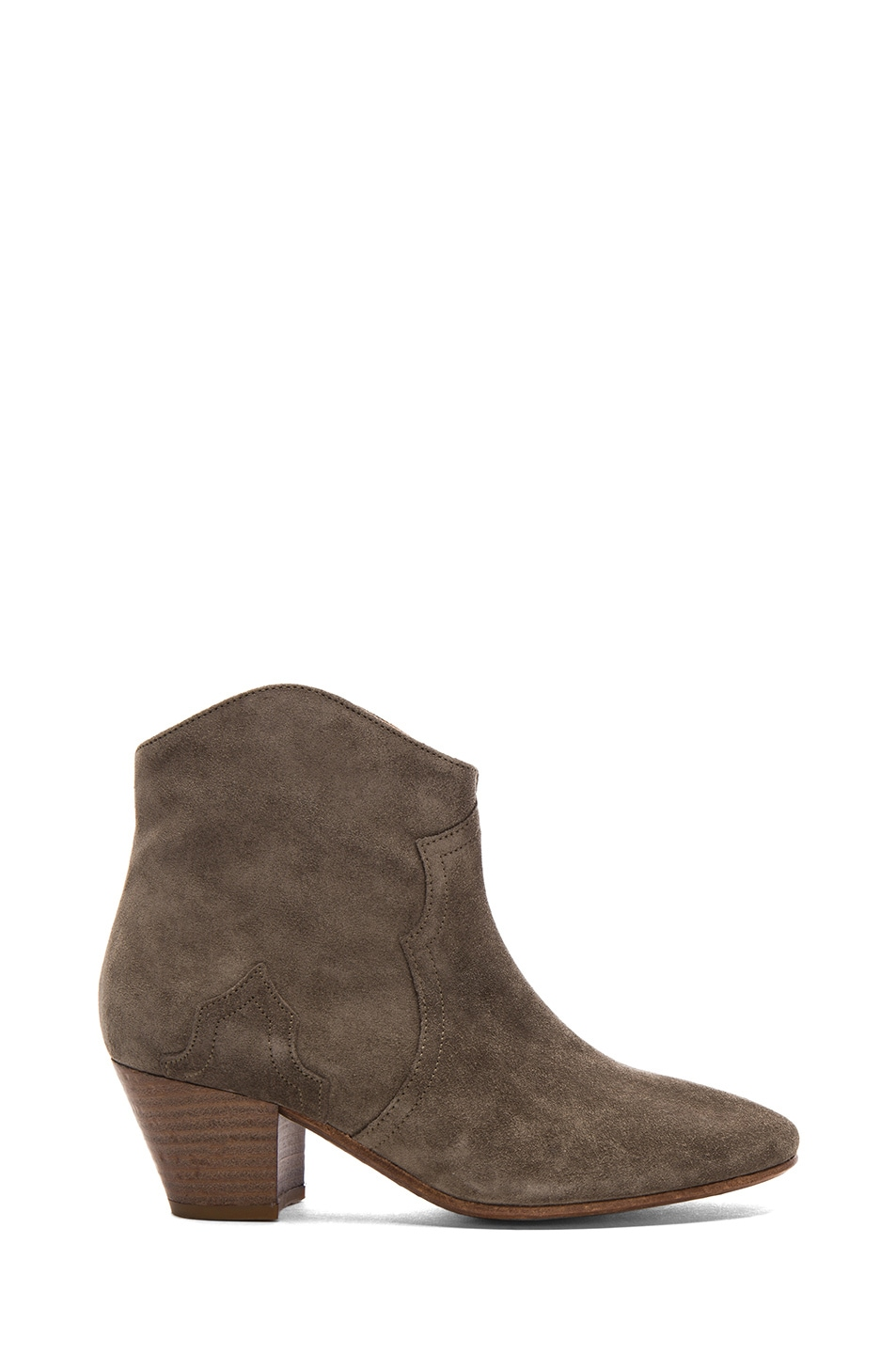 Image 1 of Isabel Marant Dicker Calfskin Velvet Leather Boots in Taupe