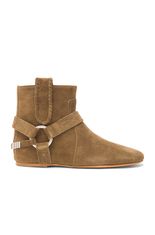 Image 1 of Isabel Marant Ralf Gaucho Calfskin Velvet Leather Boots in Khaki
