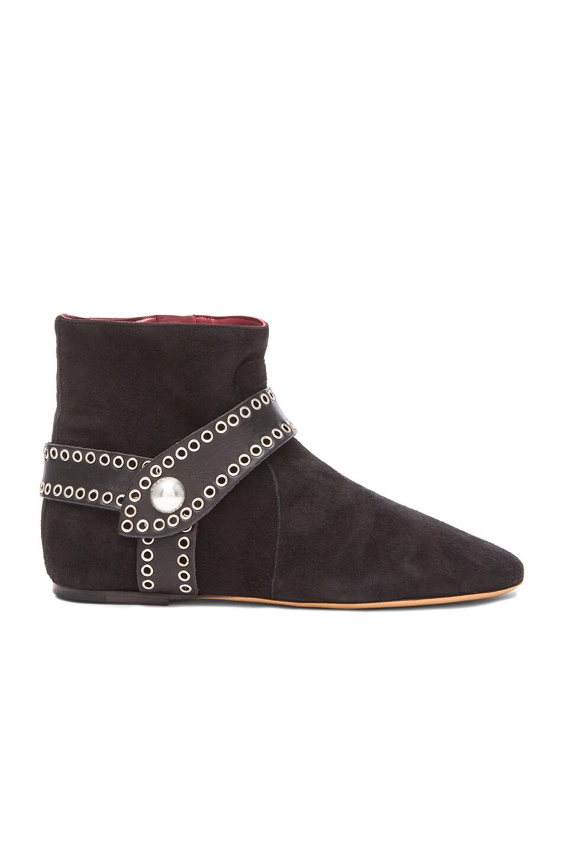 Image 1 of Isabel Marant Largo Velvet Suede Eyelet Boots in Faded Black