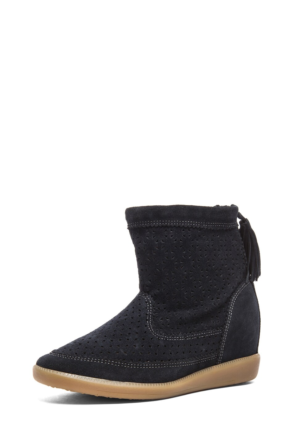Image 2 of Isabel Marant Beslay Calfskin Velvet Leather Boots in Anthracite