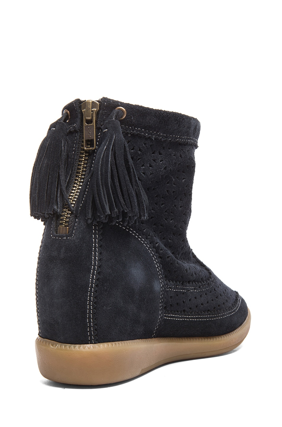 Image 3 of Isabel Marant Beslay Calfskin Velvet Leather Boots in Anthracite