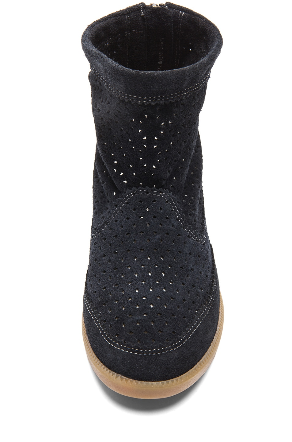 Image 4 of Isabel Marant Beslay Calfskin Velvet Leather Boots in Anthracite