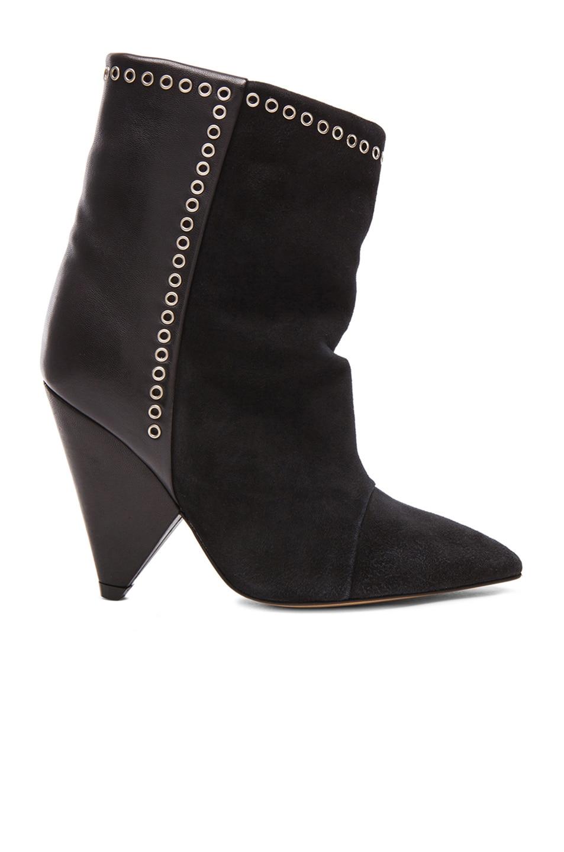 Image 1 of Isabel Marant Lance Velvet Eyelet Leather Boots in Faded Black