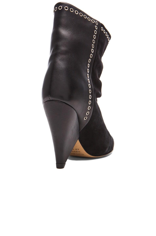 Image 3 of Isabel Marant Lance Velvet Eyelet Leather Boots in Faded Black