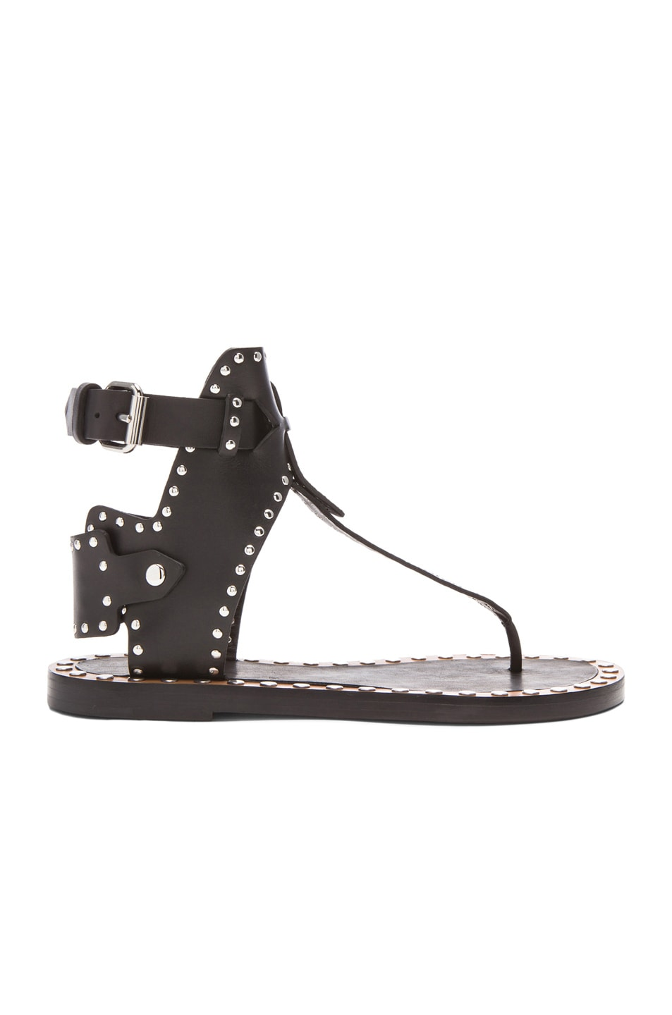 059e1f0e7 Image 1 of Isabel Marant Johanna Pomponius Calfskin Leather Sandals in Black