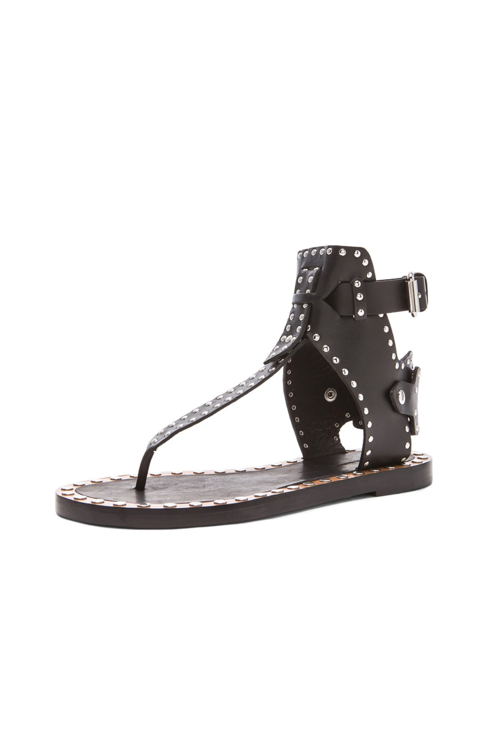 dc67ffc4c Image 2 of Isabel Marant Johanna Pomponius Calfskin Leather Sandals in Black