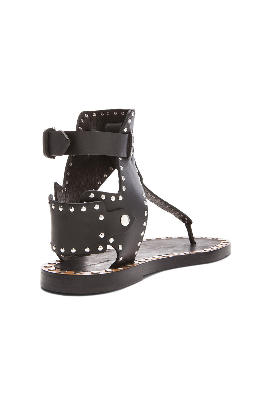 88661619d Image 3 of Isabel Marant Johanna Pomponius Calfskin Leather Sandals in Black