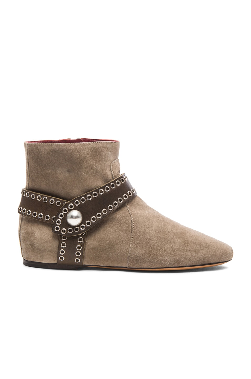 Image 1 of Isabel Marant Largo Velvet Suede Eyelet Boots in Taupe