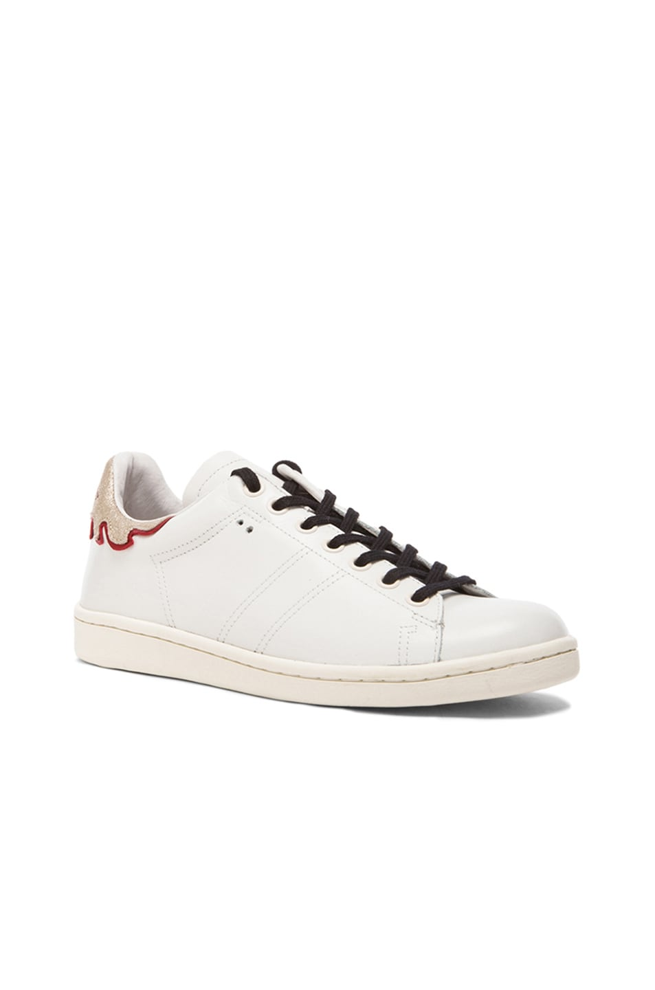Image 2 of Isabel Marant Bart Leather Sneakers in Silver & White