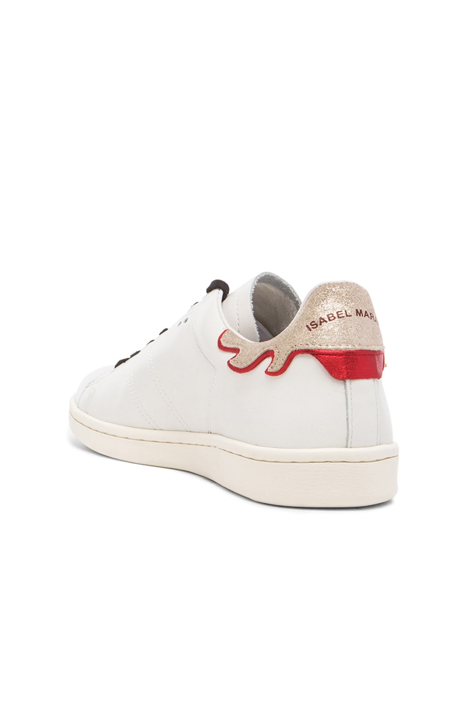Image 3 of Isabel Marant Bart Leather Sneakers in Silver & White