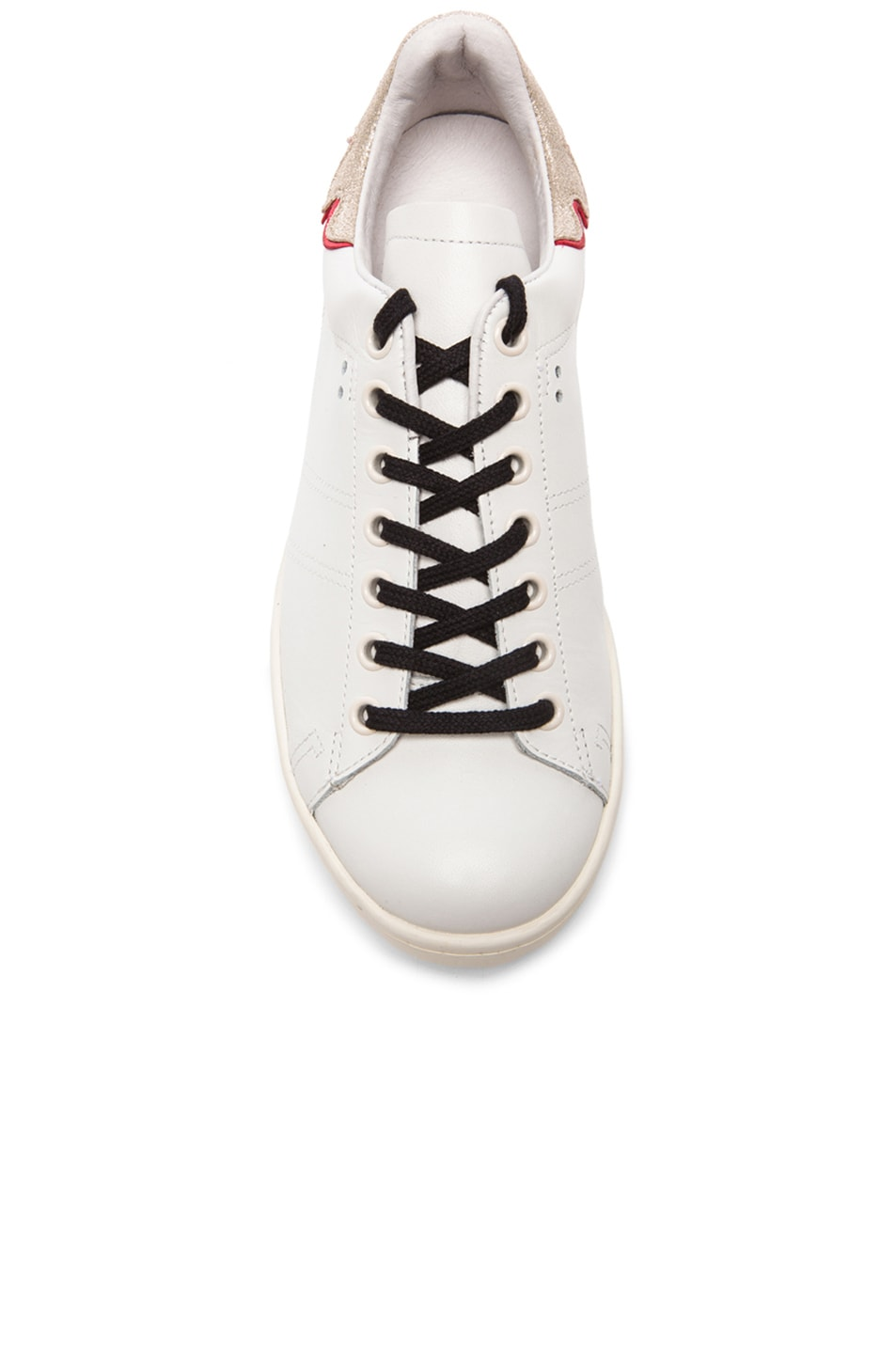 Image 4 of Isabel Marant Bart Leather Sneakers in Silver & White