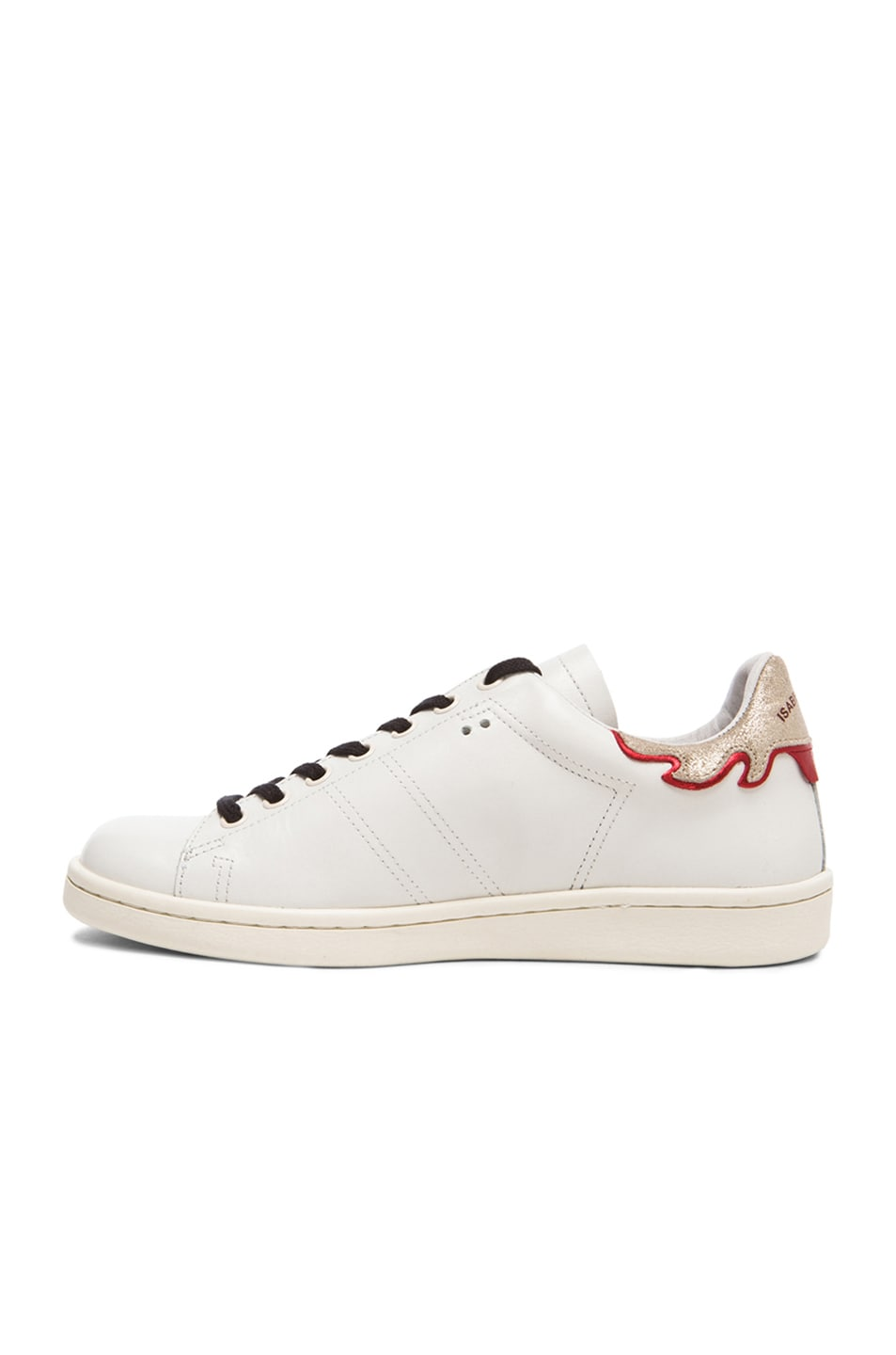 Image 5 of Isabel Marant Bart Leather Sneakers in Silver & White