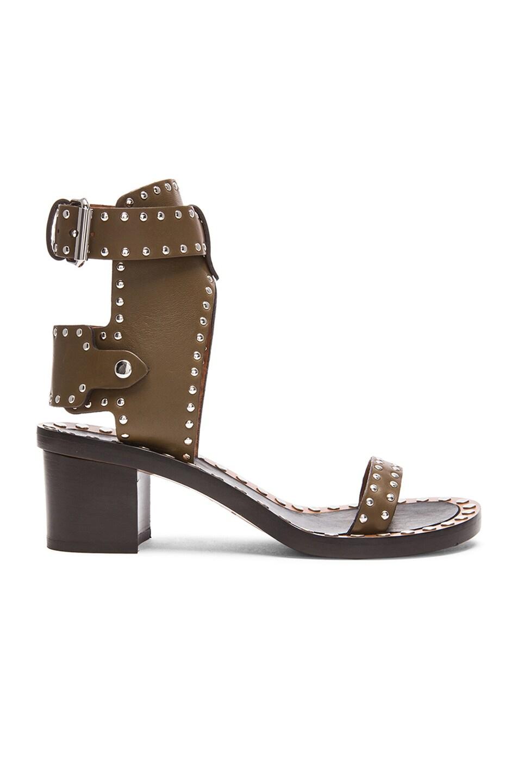 Image 1 of Isabel Marant Jaeryn Pomponius Calfskin Leather Sandals in Bronze