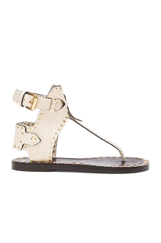 Image 1 of Isabel Marant Johanna Pomponius Calfskin Leather Sandals in Ecru
