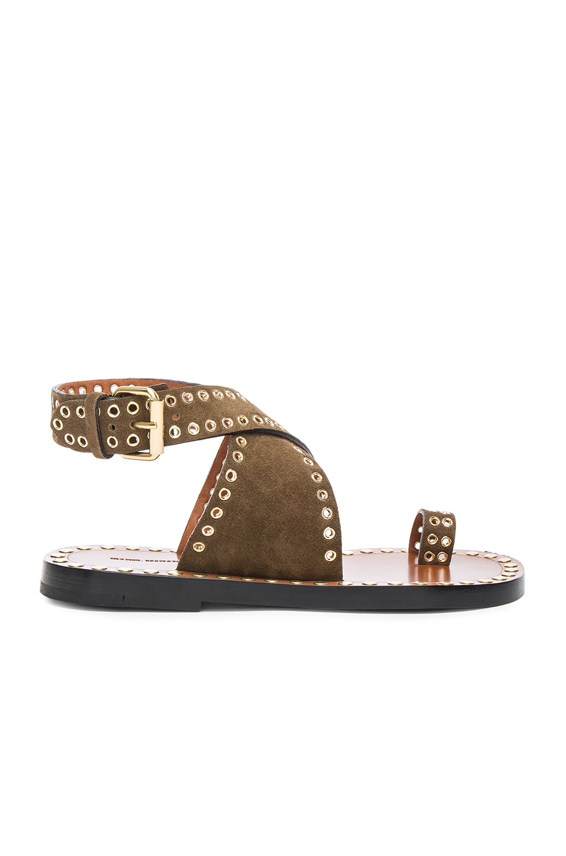 Image 1 of Isabel Marant Jools Eyelet Velvet Sandals in Brown