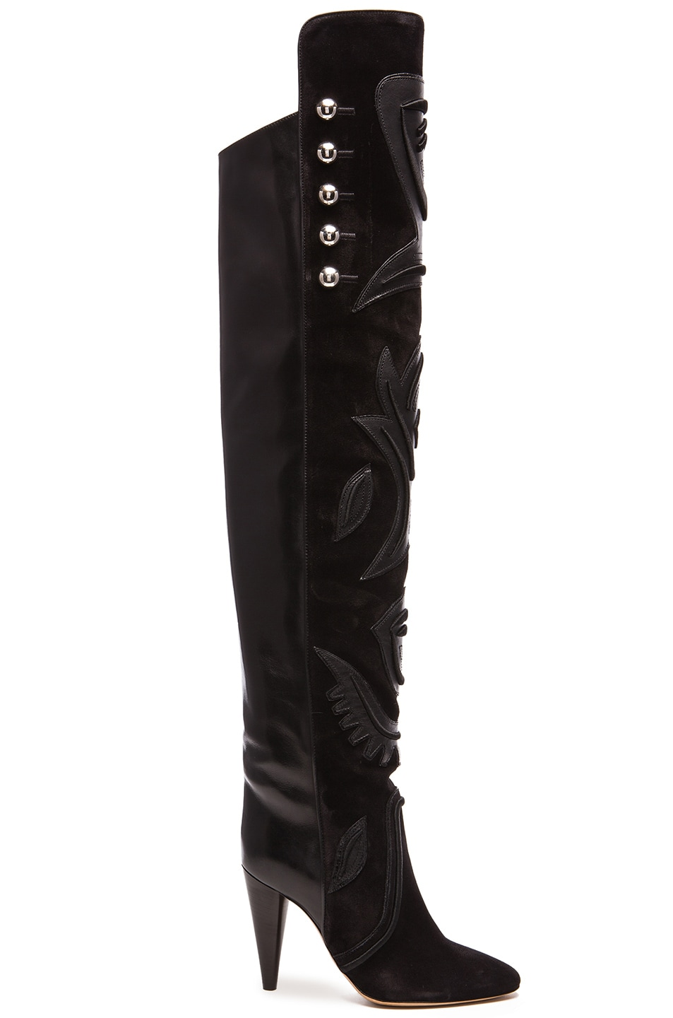 Image 1 of Isabel Marant Becky Thigh High Farrah Leather Boots in Black