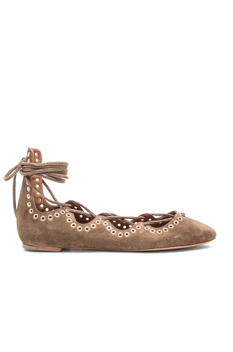 Image 1 of Isabel Marant Leo Eyelet Velvet Flats in Brown