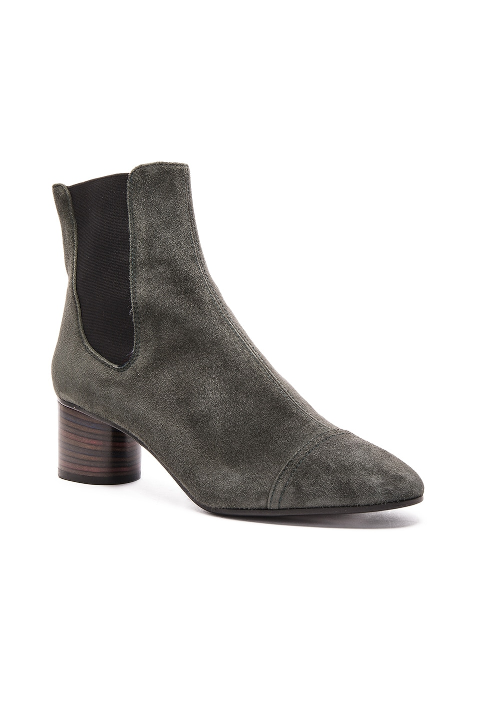 Image 2 of Isabel Marant Danae Velvet Booties in Anthracite