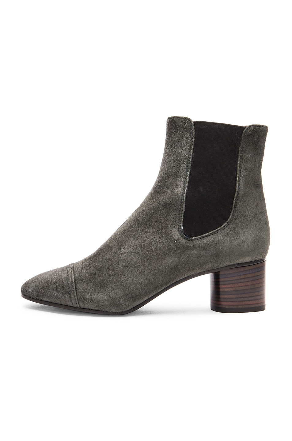 Image 5 of Isabel Marant Danae Velvet Booties in Anthracite
