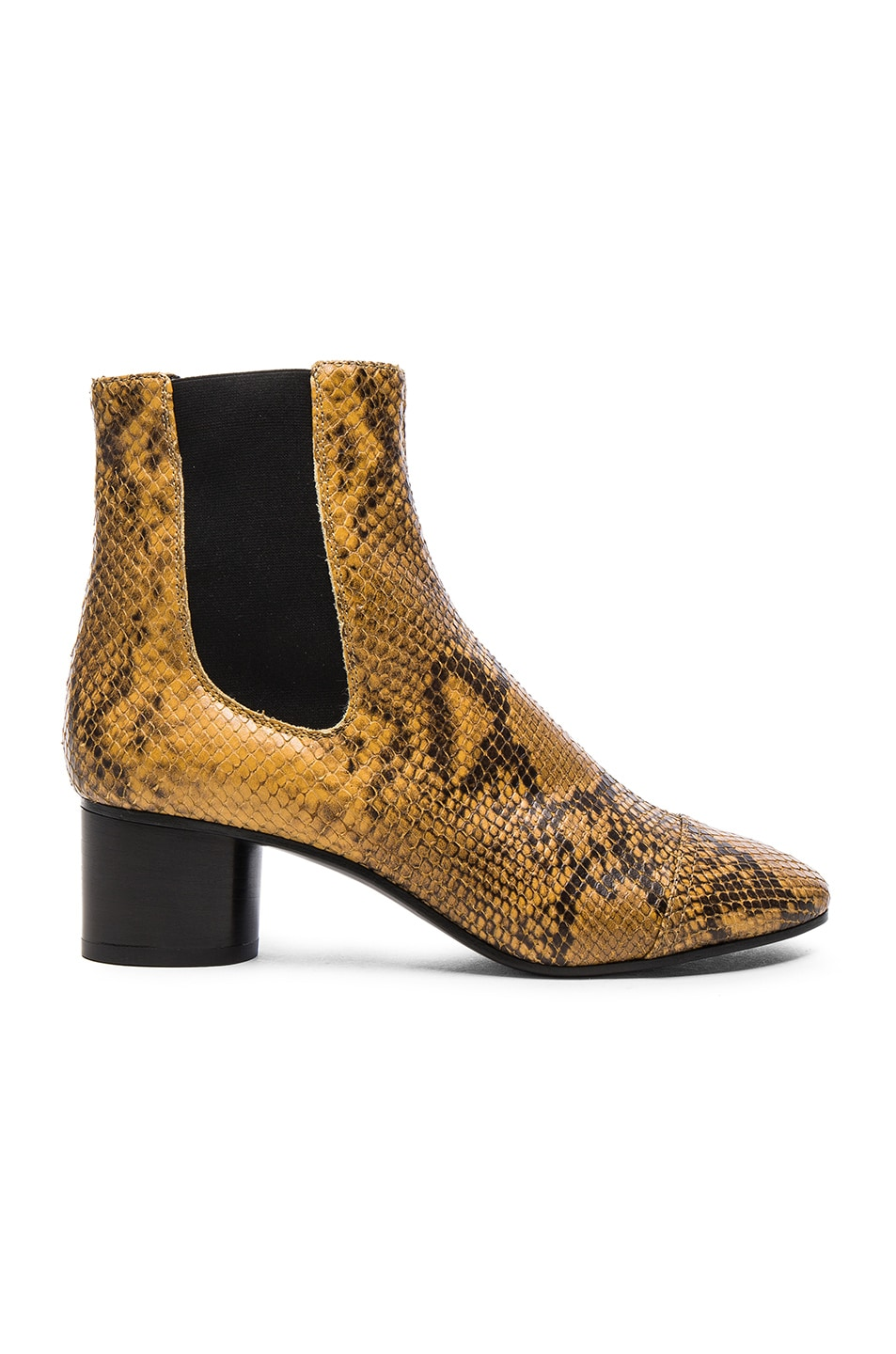 Image 1 of Isabel Marant Danae Printed Python Booties in Amber Gold