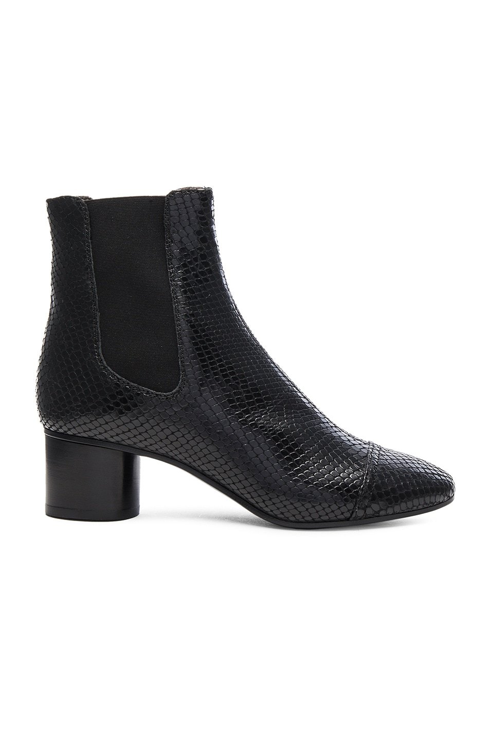 Image 1 of Isabel Marant Danae Printed Python Booties in Black