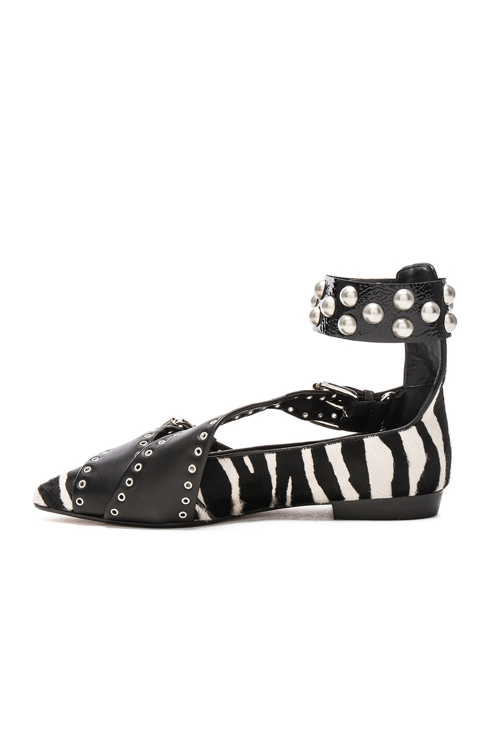 Image 5 of Isabel Marant Calf Hair Linzy Eyelet Flats in Black & White