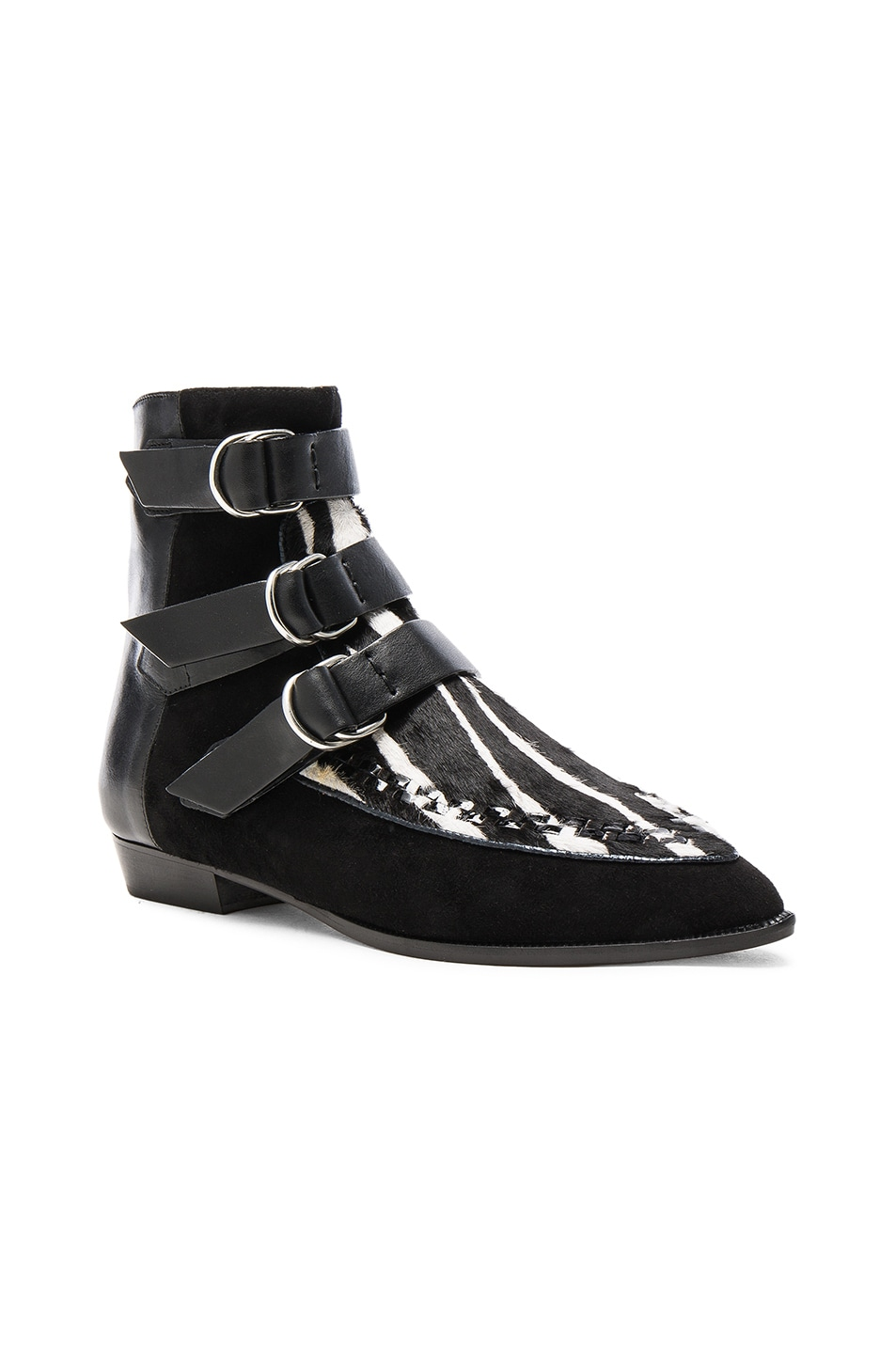Image 2 of Isabel Marant Suede Rowi Mods Boots in White & Black