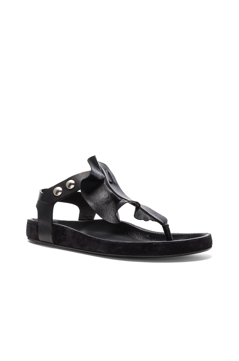 Image 2 of Isabel Marant Leather Leakey Sandals in Black