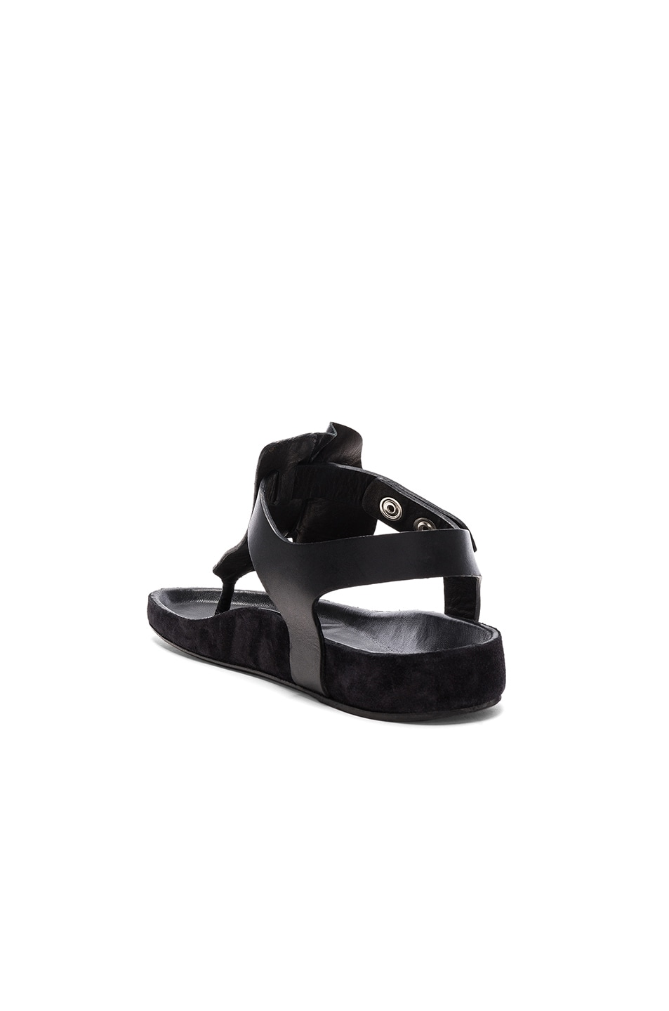 Image 3 of Isabel Marant Leather Leakey Sandals in Black