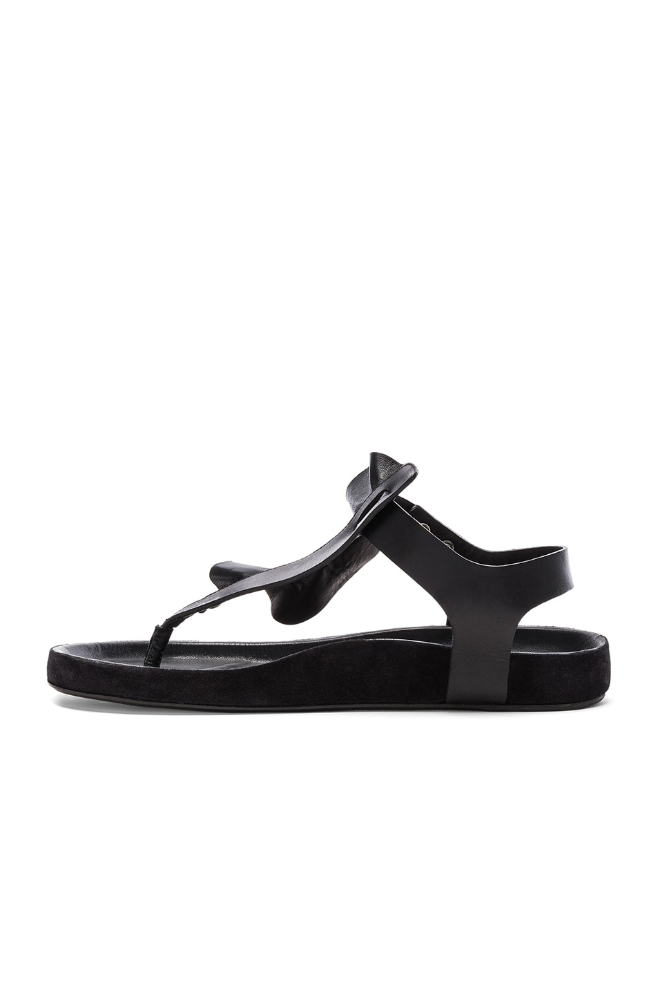 Image 5 of Isabel Marant Leather Leakey Sandals in Black