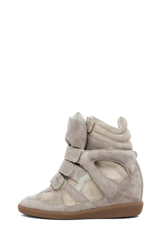 Image 1 of Isabel Marant Bekett Calfskin Suede Sneakers in Beige