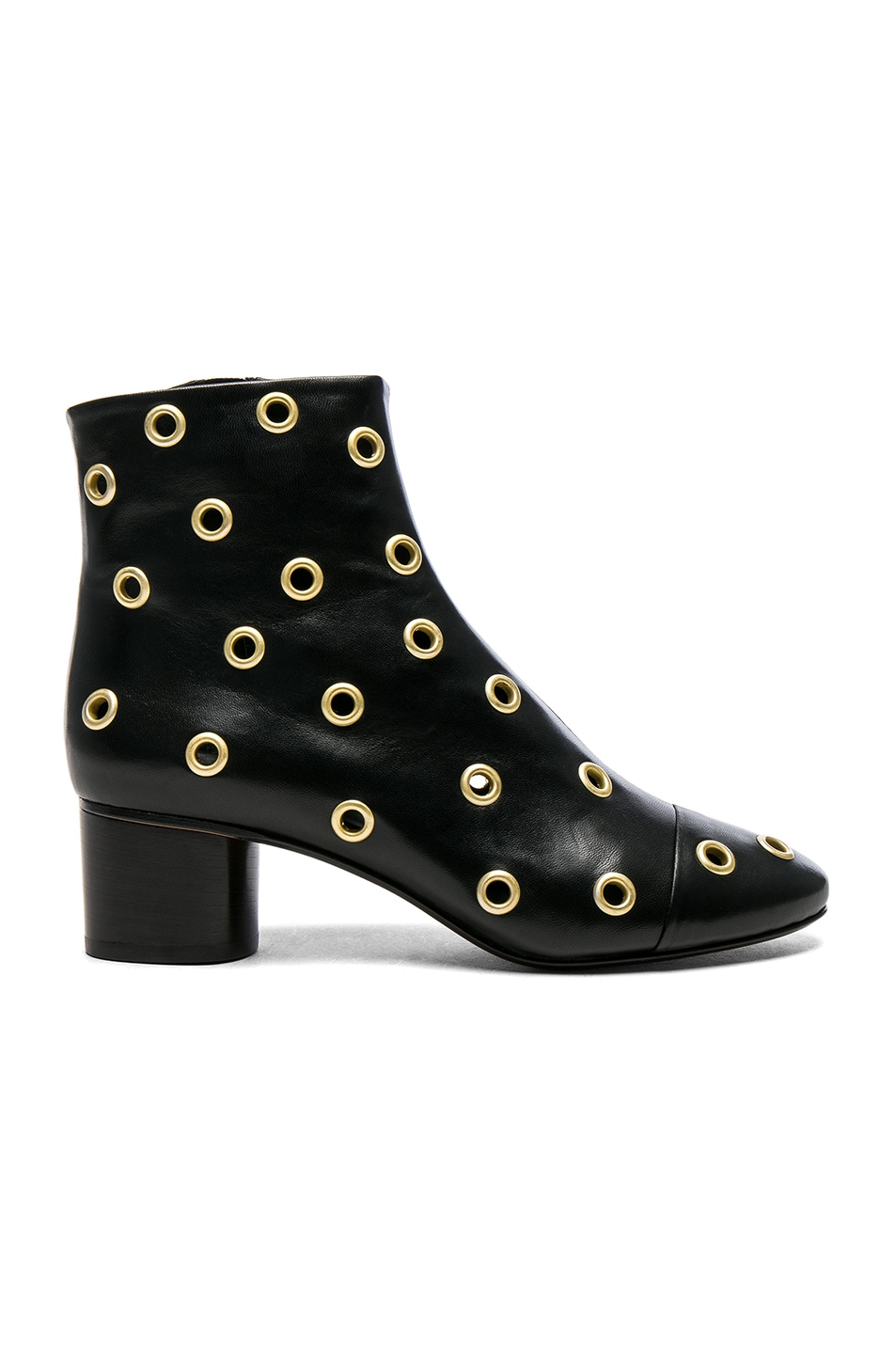 Image 1 of Isabel Marant Eyelet Leather Danay Ankle Boots in Black Dore