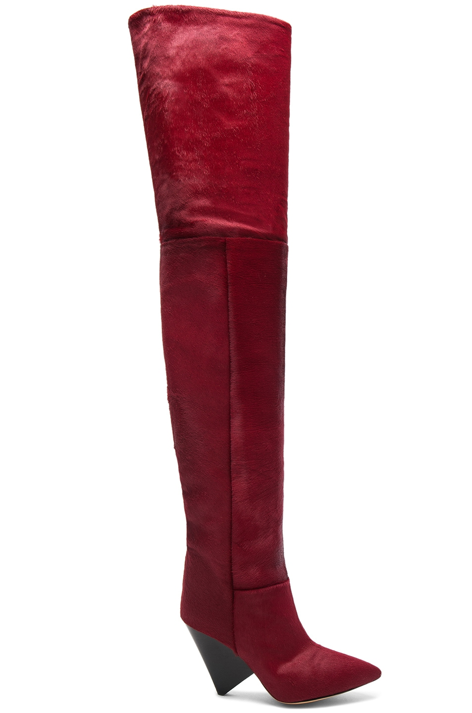 0ddda0f6c47 Image 1 of Isabel Marant Calf Hair Lostynn Thigh High Boots in Red