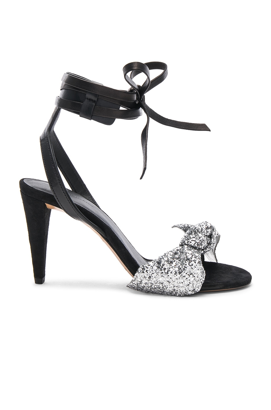 Image 1 of Isabel Marant Glitter Akynn Ankle Strap Sandals in Silver